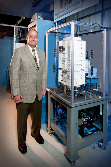 NASA Glenn Research Center Director Ray Lugo in the center�s Stirling Research Laboratory.